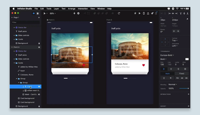 InVision Studio features frictionless rapid prototyping and advanced animation for screen design.