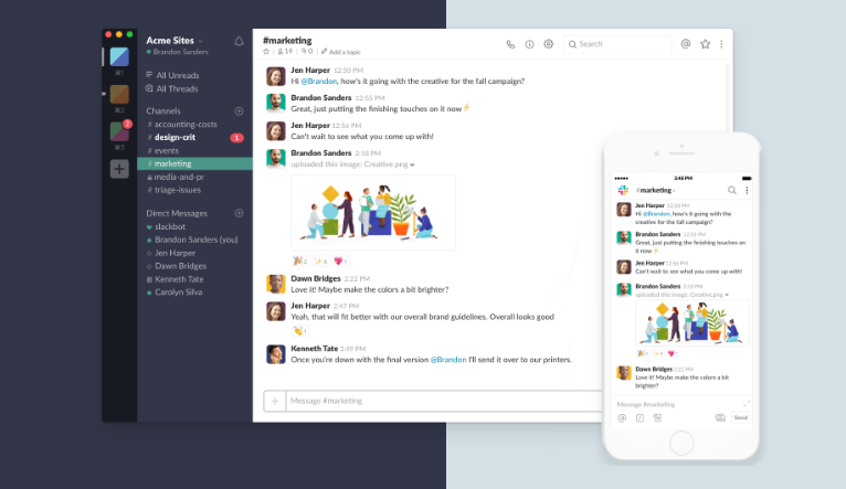 Slack is an online team collaboration software that offers one on one chats, group chats, file sharing and various third party integrations.
