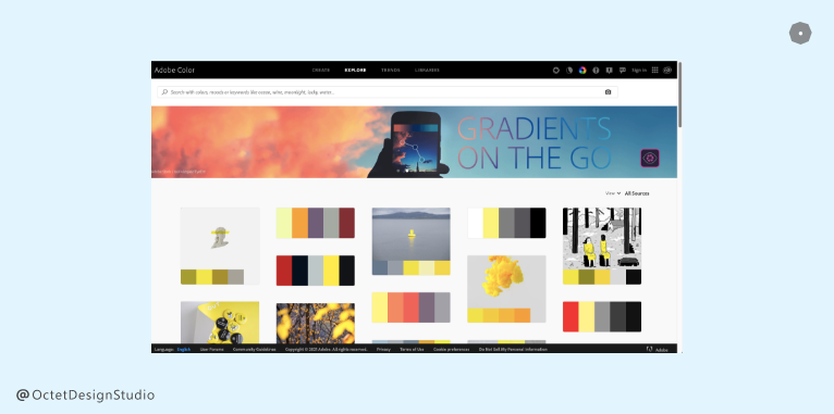 Adobe Colors provides thousands of readymade color palettes to choose from