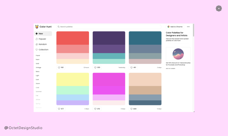 Color Hunt houses thousands of pre-made colour palettes you can take directly into your design